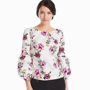 WHBM 3/4 Sleeve Poplin Floral Top sz 6